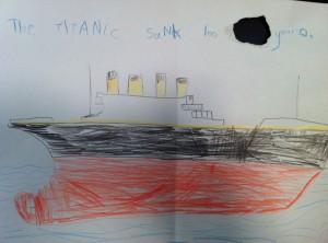 Here's the drawing BB did for her. It had a functional purpose – the hole was so he could hang it on her front door handle like a pizza-delivery menu. The words, in case you can't read them, say: 'The Titanic sank 100 years ago'. Talk about girls being from Venus, and boys from Pluto!
