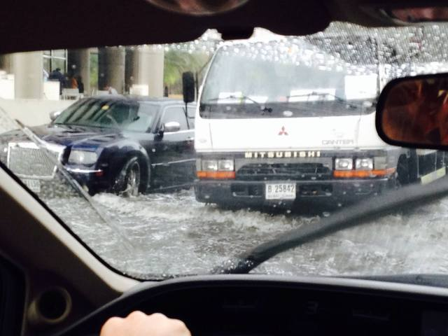 Outside my work: A day of rain and Dubai drowns