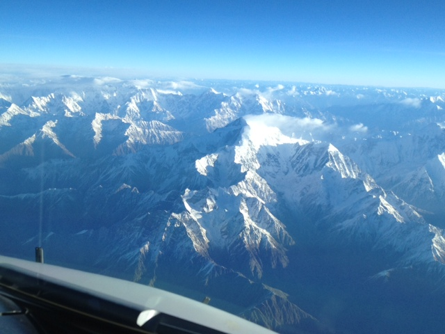 Even at 39,000 feet above sea level, the Himalayas look mighty close! K2 is down there somewhere.