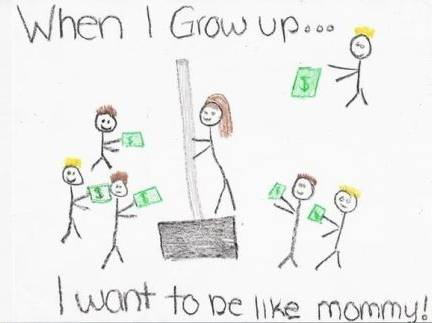 "Not Son1's, but this made me laugh. It was turned in by a first grader in the US, and marked by the teacher. The next day, the mom wrote a note: ""Dear Ms. Davis, I want to be perfectly clear on my child's homework illustration. It is NOT me on a dance pole on a stage in a strip joint surrounded by male customers with money.  I work at Home Depot and had commented to my daughter how much money we made in the recent snowstorm.  This drawing is of me selling a snow shovel."