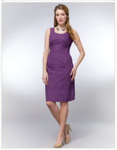 Not an accurate representation of the blogger (i.e., modelled by someone far skinnier than me). But here's the purple dress I had to promise Son2 I'll wear tomorrow