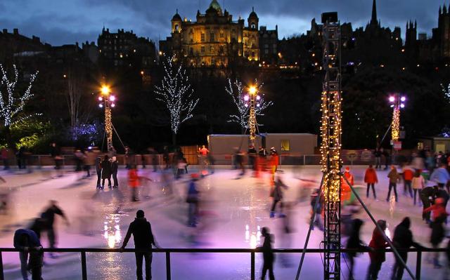 Edinburgh ice rink in East Princes Street Gardens on Christmas Eve