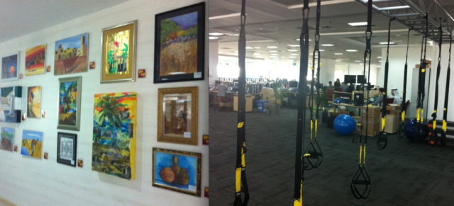Gorgeous works of art are everywhere – oh, and more exercise equipment if you fancy hanging around.