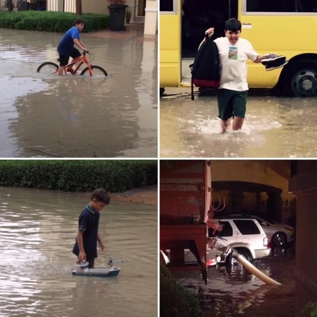 kids having fun in rain